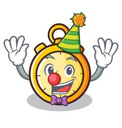 Clown chronometer character cartoon style vector