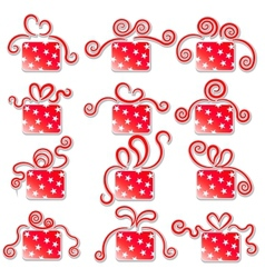 collection red gift boxes on a white background vector image