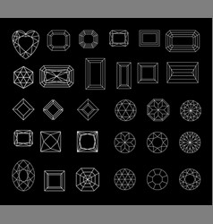 collection shapes diamond against black vector image