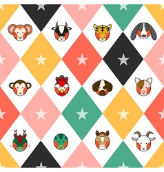 Colorful Chinese Zodiac Chess Board Diamond vector image
