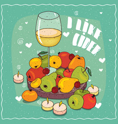 composition with cider and pears and apples vector image
