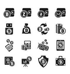 Cryptocurrency and mining icon set vector