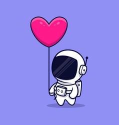 Cute astronaut bring heart balloon cartoon icon vector
