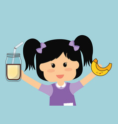 Cute girl holding milk and banana vector
