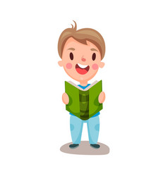 cute happy boy reading a book education and vector image