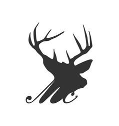 Deer head silhouette icon logo simple minimalist vector