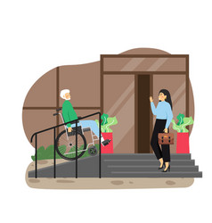 Disabled senior man in wheelchair using staircase vector