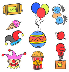 Doodle of object circus colorful vector