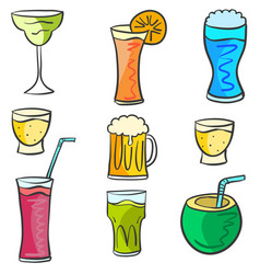 Doodle set drink design collection vector