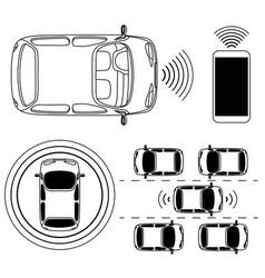 Driverless robotic car self-driving auto vector