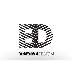 Ed e d lines letter design with creative elegant vector