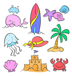 Element summer set style doodles vector
