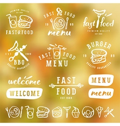 Fast food labels template in brush drawing style vector image
