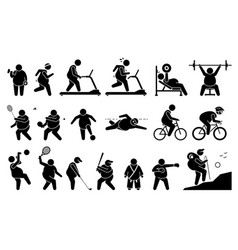 fat man exercise at gym and playing sport vector image