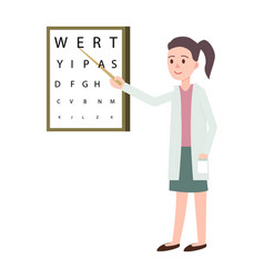 Female doctor doing vision check icon vector