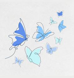 Flying butterfly sticker blue line art animal set vector