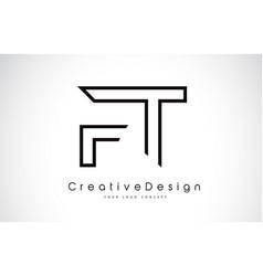 Ft f t letter logo design in black colors vector