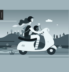Girl on a scooter vector
