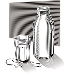Glass and bottle of fresh pasteurized milk vector