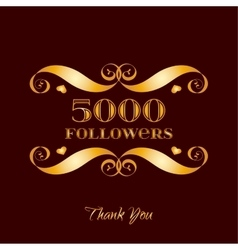 Gold 5000 followers badge over brown vector