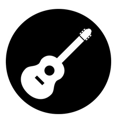 Guitar sign button vector image