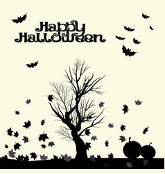 halloween landscape in black and white graphics vector image