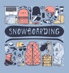 hand drawn fashion snowboarding thing vector image