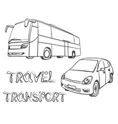 Hand drawn transport set bus and car vector