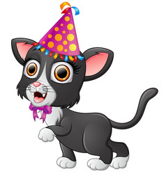 happy cat cartoon celebrating birthday vector image