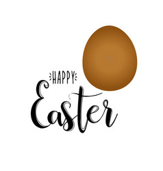 happy easter calligraphy on white background vector image