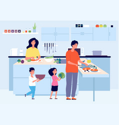 happy family cooking cook on kitchen kid mom dad vector image
