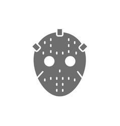 Hockey goalkeeper mask protection uniform gray vector