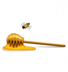 honey stick with a bee vector image