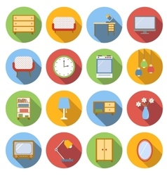 Interior flat icons set vector image