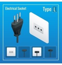 Isometric Switches and sockets set Type L AC vector image
