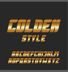 Italic bold font gold glowing letters set golden vector