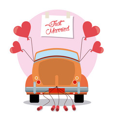 Just married vintage car decoration vector