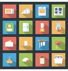 Kitchen flat icons set vector