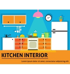 Kitchen interior poster vector image