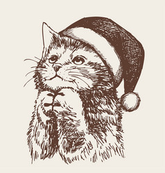 Little cat kitten with christmas santa hat vector