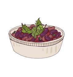 Lobio in bowl decorated with cilantro delicious vector