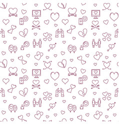 love outline pattern - valentines day vector image