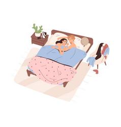 Love romantic couple sleeping under blanket in bed vector