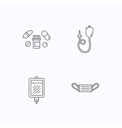 Medical mask blood and pills icons vector image