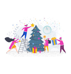 men and women decorate a christmas tree vector image