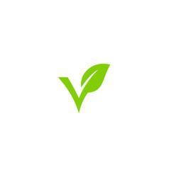 nature letter v logo icon design vector image