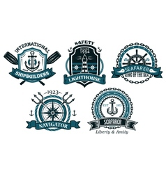 Nautical badges and emblems set in heraldic style vector image