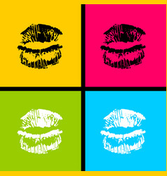 open mouth woman lips tongue pop art style vector image