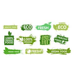 organic eco food vegan fresh healthy and vector image