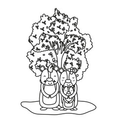 Outline adorable bear family animals and tree vector